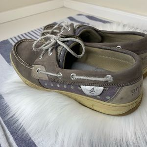 Sperry brown purple silver top siders